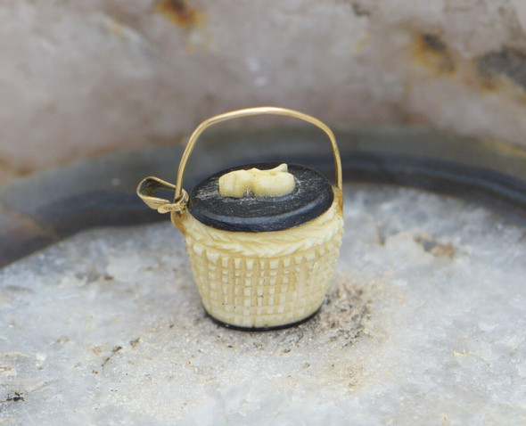 12K Yellow Gold Filled Bone & Wood Nantucket Basket Pendant/Charm, Circa 1950