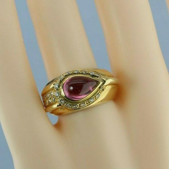 18K Yellow Gold Pink Tourmaline and Diamond Ring Size 7 Circa 1990
