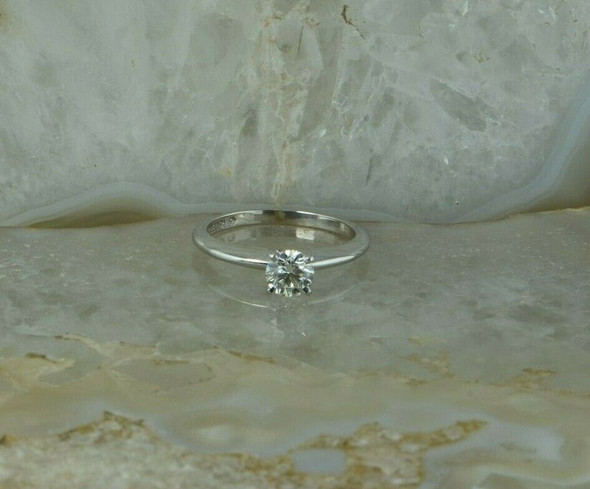 18K White Gold 1/2ct Diamond Solitaire Ring Platinum Head Size 5 Circa 1950