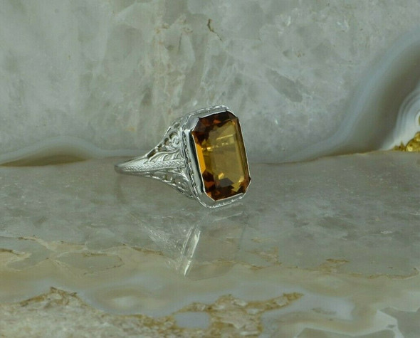 Antique 18K White Gold Filigree Citrine Art Deco Ring Size 5 Circa 1930