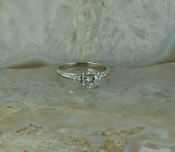 Elegant 18K White Gold Diamond Engagement Ring Size 6 Circa 1970