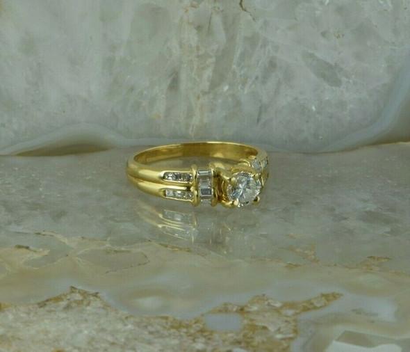 18K Yellow Gold Diamond Ring 0.60 Carat Center Size 8 Circa 1980