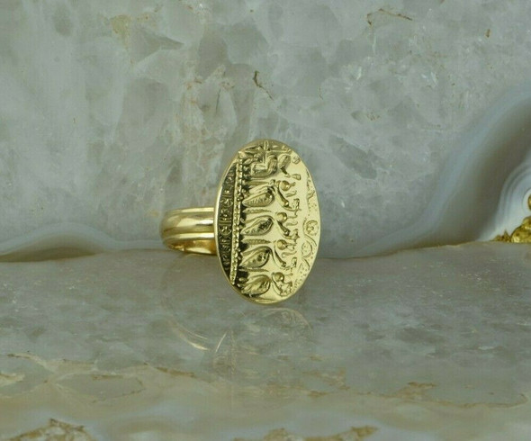 18K Yellow Gold Greek Revival Ring Intaglio of a Queen and Attendants Size 5