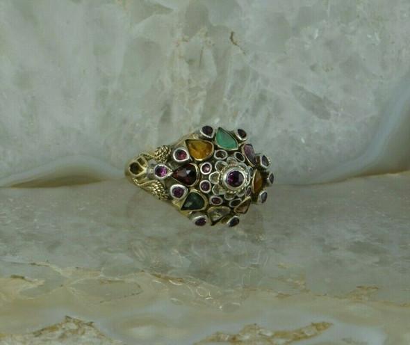 Vintage Stamped 18K Yellow Gold Gemstone Wedding Cake Ring Circa 1950 Size 8