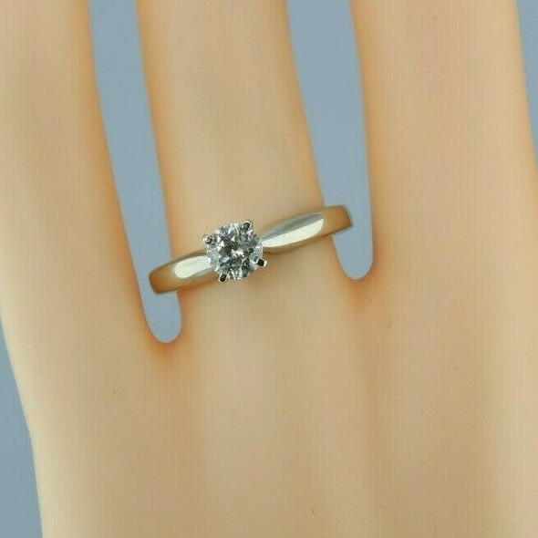 Vintage 14K Yellow Gold .60 ct Diamond Solitaire Ring Size 7.25 Circa 1960