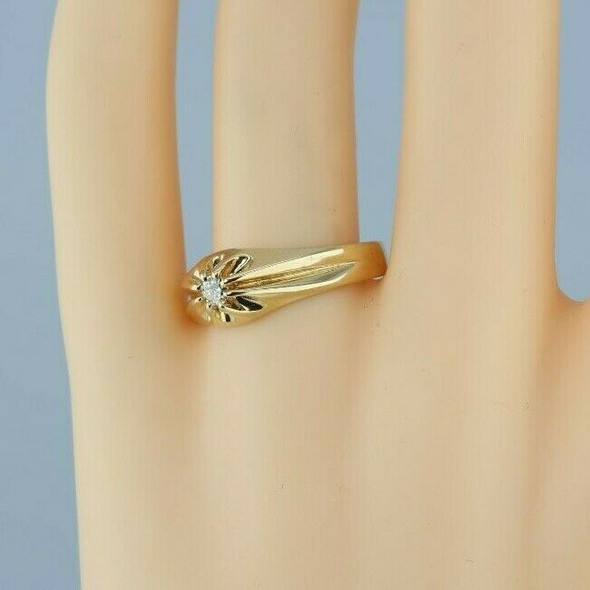 14K Yellow Gold Diamond Solitaire Ring Belcher Setting Size 9.25 Circa 1930