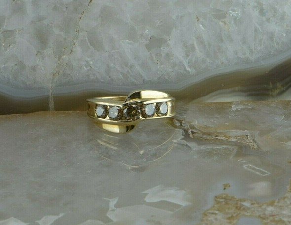 14K Yellow Gold Champagne Diamond Ring Size 6.75 Circa 1990
