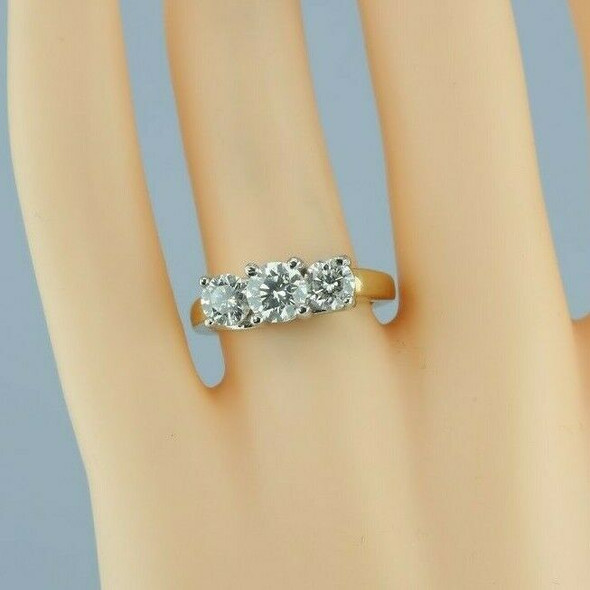 14K YG 2 ct tw - 3 Stone Diamond Ring with Platinum Head Size 7 Circa 1990