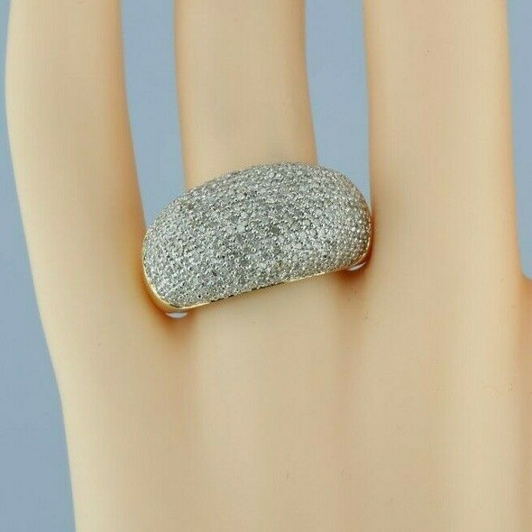 14K Yellow Gold 2ct + est. Domed Pave Diamond Ring Size 10 Circa 1990