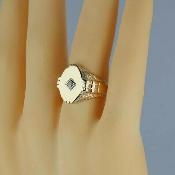 14K Yellow Gold Diamond Set Ring Art Deco Tooled Sides Size 10.75 Circa 1940