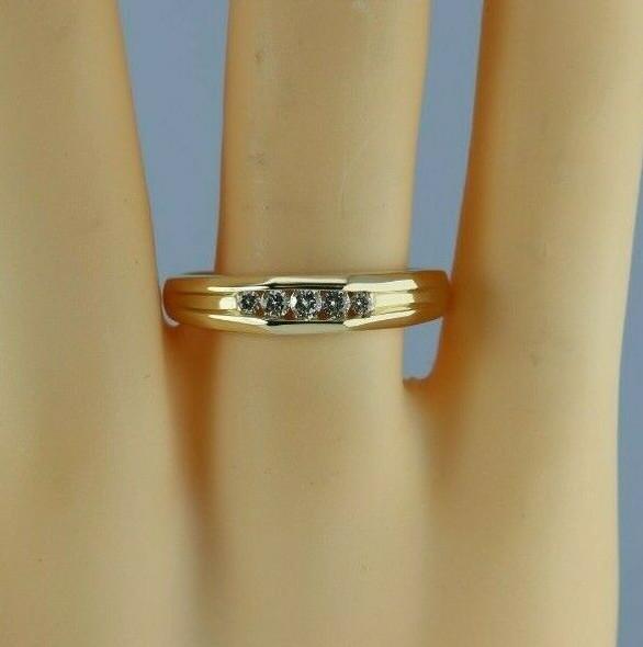 14K YG 1/3 ct Diamond Ring 5 Round Diamonds Channel Set Size 12 Circa 1960
