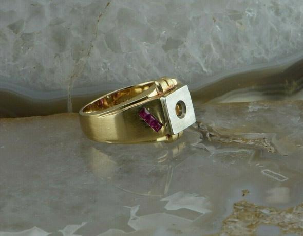 Unused Men's 14K Yellow Gold Art Deco Ruby Half Mount Ring Size 10+ Circa 1940