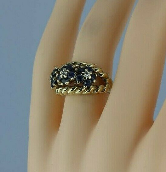 Vintage 14K Yellow Gold 1.5ct tw Sapphire and Diamond Rosette Ring Size 5