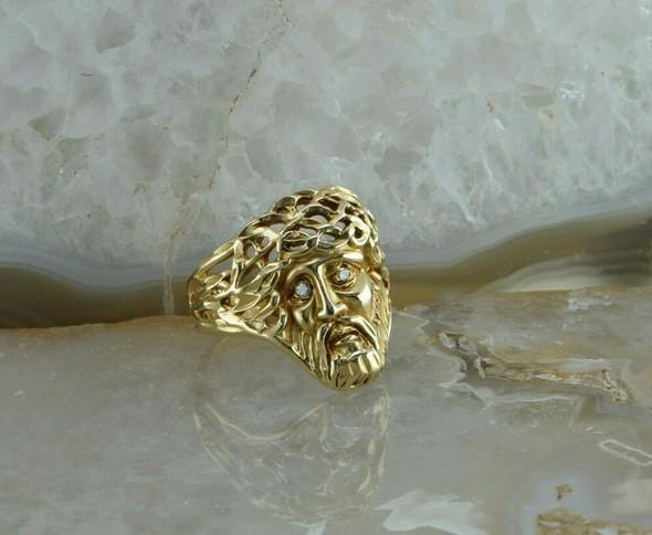 14K Yellow Gold Turks Head Portrait Diamond Ring 2 Round Diamond Eyes Size 7.25