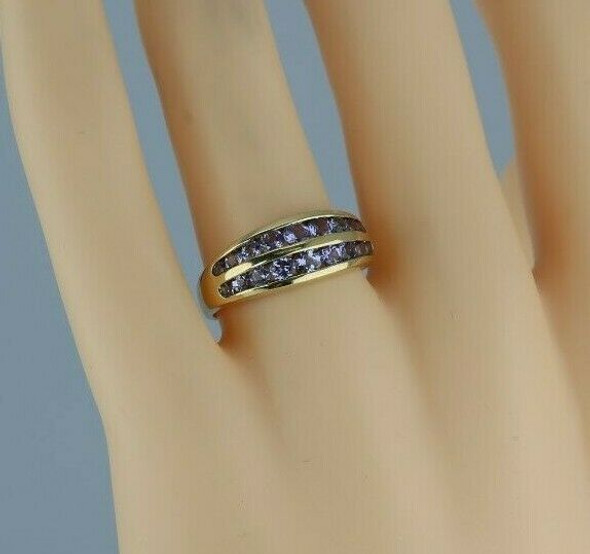 14K Yellow Gold 1ct + Tanzanite Ring Circa 1990 Size 7