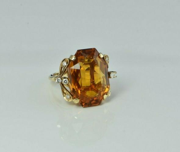 14K Yellow Gold Orange Citrine and Diamond Cocktail Ring Size 6.5 Circa 1970