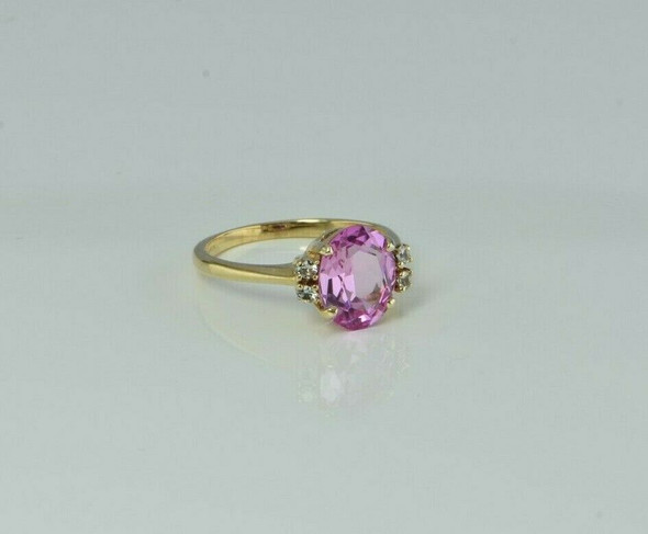 14K Yellow Gold Pink and White Sapphire Ring Size 7.25 Circa 1980
