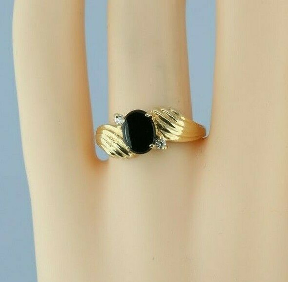 Vintage 14K Yellow Gold Black Onyx and Diamond Accent Ring Circa 1960 Size 7.5