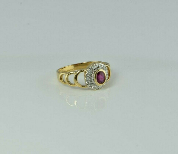 Vintage 14K Yellow Gold Ruby and Diamond Halo Ring Size 6.25 Circa 1960