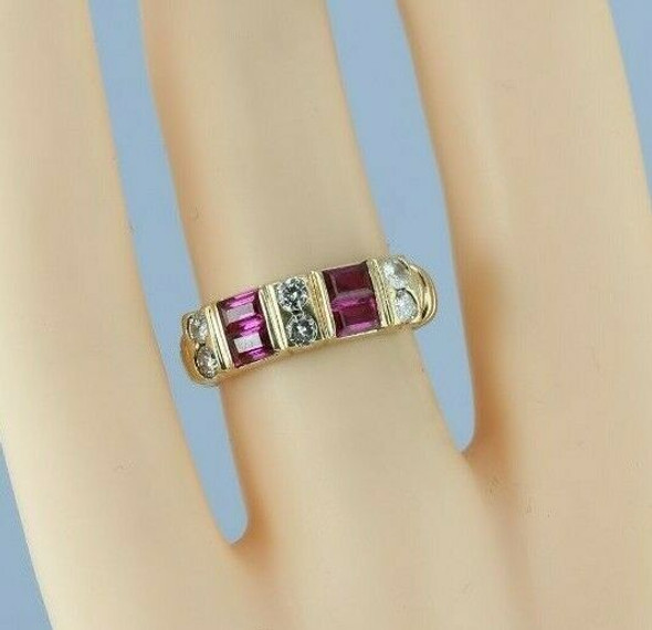 14K Yellow Gold 1ct + Ruby and Diamond Ring Size 5 Circa 1990
