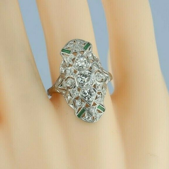 Antique 14K WG Diamond Filigree Ring with Emerald Accents Size 8.5 Circa 1925