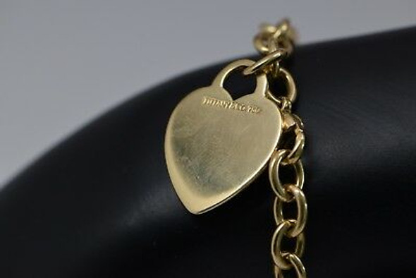 18K Yellow Gold Tiffany & Co. Link Bracelet with Heart Tag