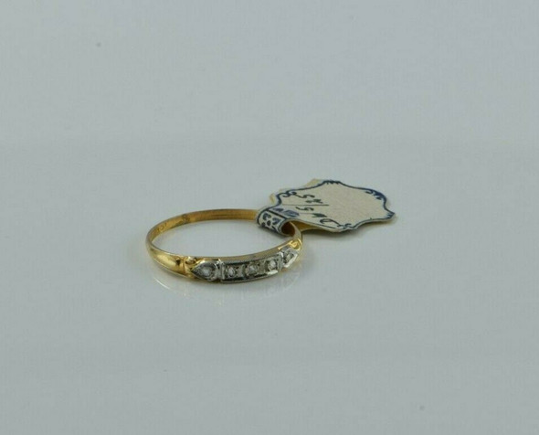 14K Yellow Gold New Old Stock Art Deco Diamond Band Circa 1920's Ring Size 6
