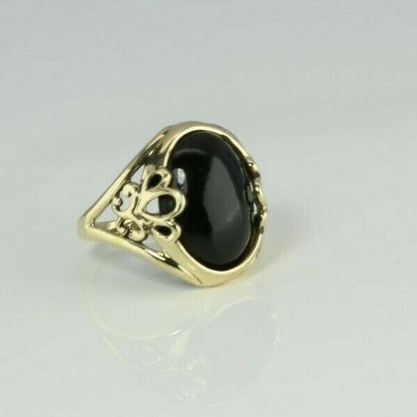 14K Yellow Gold Black Onyx Ring 12 x 18 mm Oval Size 8.75 Circa 1990
