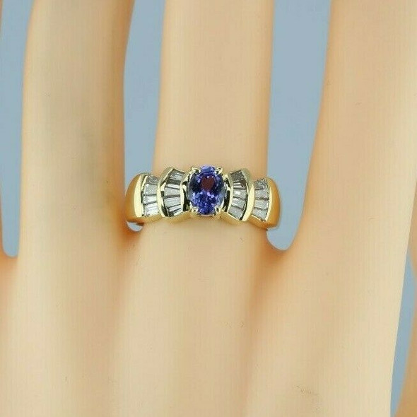 14K YG Designer 2 ct + Tanzanite and Diamond Baguette Ring Size 7.25 Circa 1980