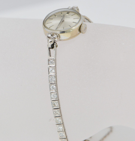 14K White Gold Movado Ladies Watch with 14K White gold Diamond Band, Circa 1960