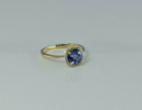 14K Attractive Yellow Gold Tanzanite Diamond Halo Ring Size 8 Circa 1990