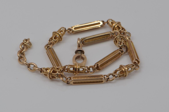"14K Yellow Gold Victorian 13"" Watch Chain, Circa 1880 American"