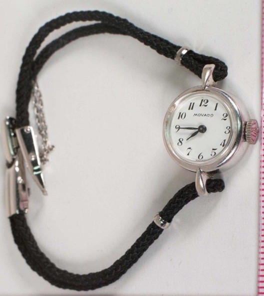 14K White Gold Movado Ladies Watch with Black Cord Band