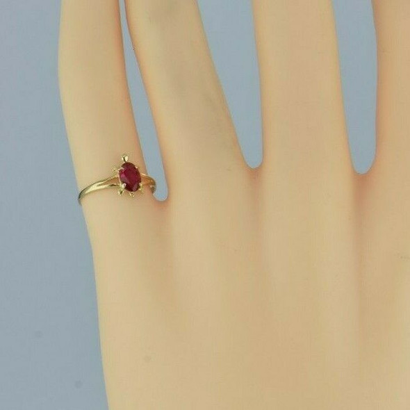 14K Yellow Gold Ruby Turtle Ring Size 3.5 Circa 1990