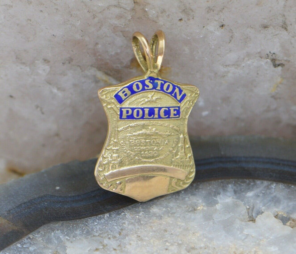 14K Yellow Gold Miniature Boston Police Badge Pendant with Blue Enamel, 1950's