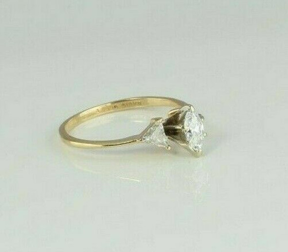 14K YG 1 ct tw Marquise Diamond Ring Accented with Trillions Size 6 Circa 1980