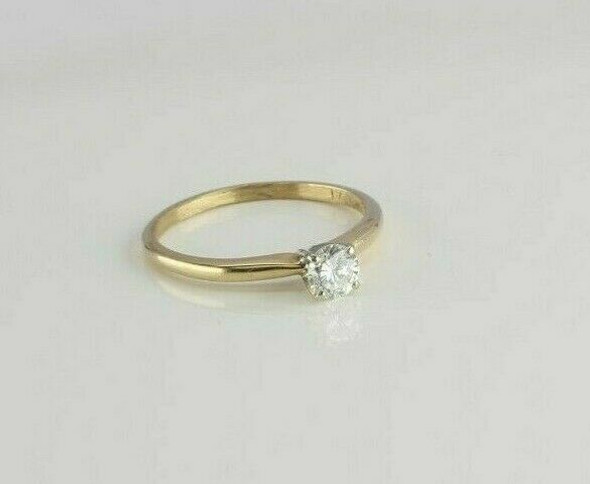 Vintage 14K Yellow Gold .42ct est. Diamond Solitaire Ring Size 7 Circa 1960