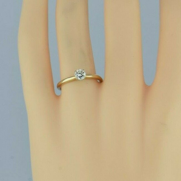 Vintage 14K Yellow Gold .42ct est. Diamond Solitaire Ring Size 7 Circa 1960