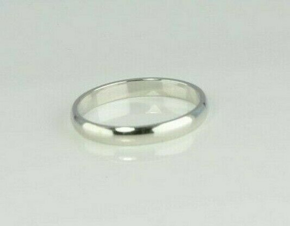 """14K White Gold Wedding Band 1/8"""" Wide Domed Top Size 10"""