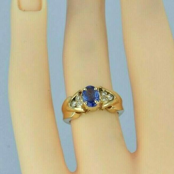 14K Yellow Gold 1 ct + Tanzanite and Diamond Ring Size 4 Circa 1990