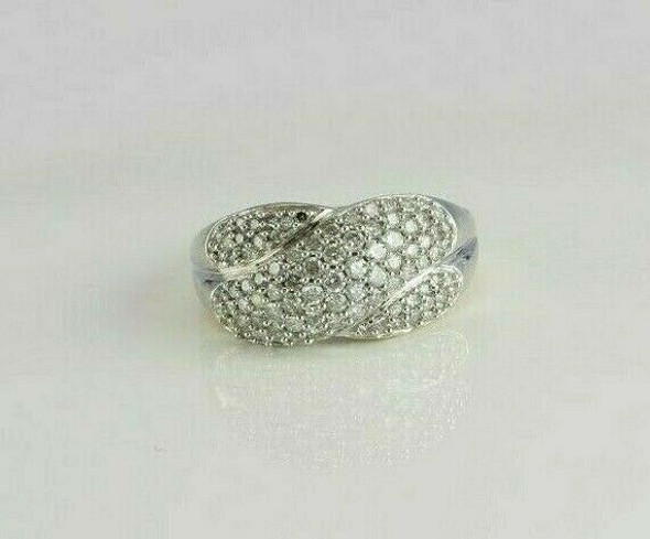 14K White Gold 1.5 ct est. Diamond Pave Crossover Ring Size 7.75 Circa 1990