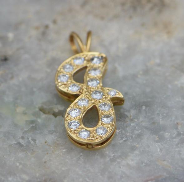 "14K Yellow Gold Diamond Letter ""G"" Pendant 1 ct. tw."