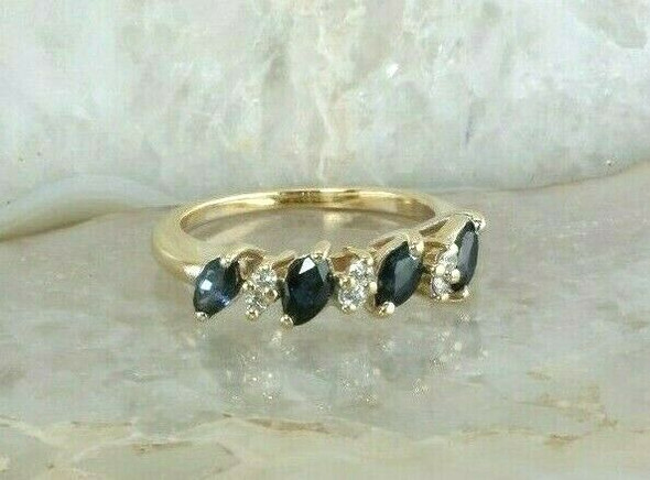Vintage 14K YG 1 ct tw Sapphire Marquise and Diamond Ring Size 6.25 Circa 1960