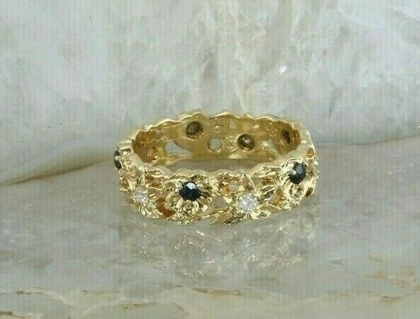 14K Yellow Gold Sapphire and Diamond Floral Band Franklin Mint 1980 Size 7.25