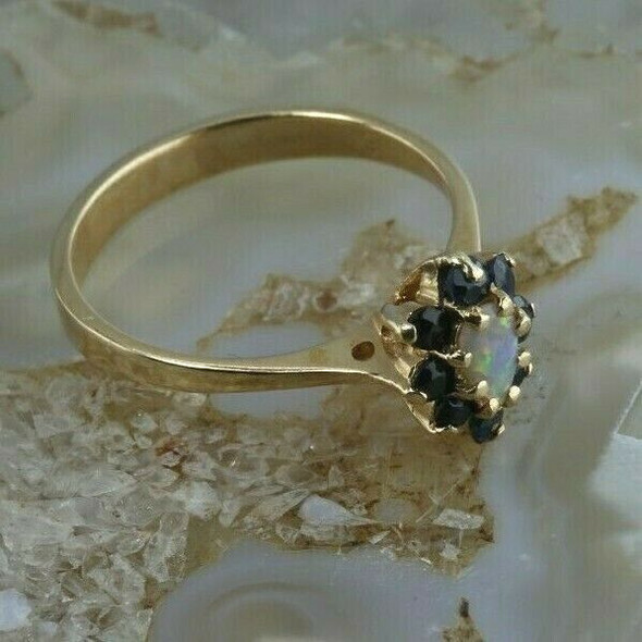 Vintage 14K Yellow Gold Opal Crystal and Blue Sapphire Ring Size 7 Circa 1960