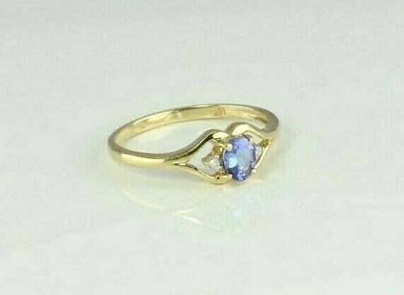 14K Yellow Gold Tanzanite Diamond Accent Ring Size 7 Circa 1980