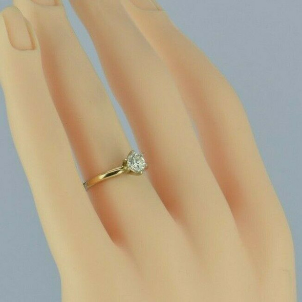 14K Yellow Gold .62ct Diamond Solitaire Ring Size 5