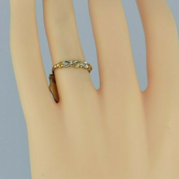 14K Yellow Gold Art Deco Diamond Chip Band Unused with Tag Size 5.5 Circa 1930