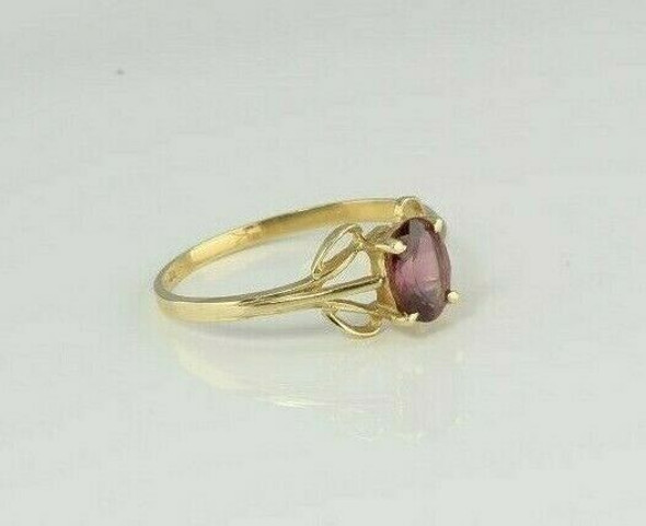 14K Yellow Gold Pink Stone Ring Size 8 Circa 1970