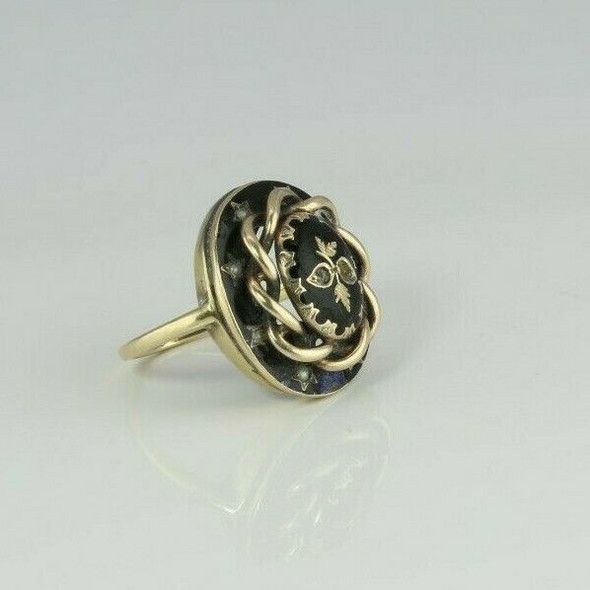 Victorian Mourning Ring 14K Yellow Gold with Black Enamel Size 4 Circa 1890